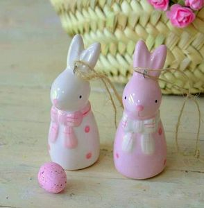Set Of Two Ceramic Easter Rabbits