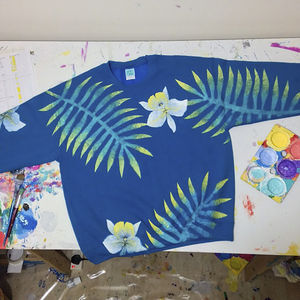 Hand Painted Electric Blue Hawaiian Sweater - women's fashion