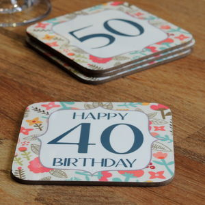 Floral Birthday Age Coaster