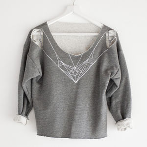 Hand Painted Cut Off Geometric Sweater - women's fashion