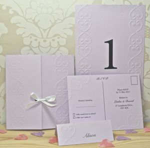 Lace Heart Embossed Wedding Invitations - reply & rsvp cards