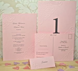 Vintage Lace Embossed Wedding Invitation