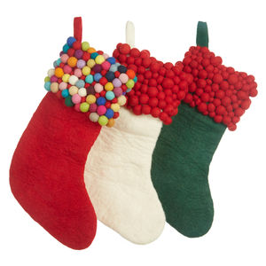 Handmade Felt Ball Christmas Stocking - stockings & sacks