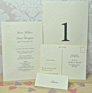 Butterfly Embossed Wedding Invitations - personalised