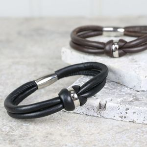 Men's Leather Knot Bracelet - men's jewellery