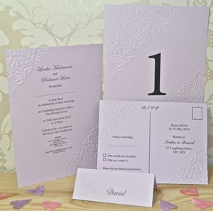 Vintage Rose Embossed Wedding Stationery - place cards