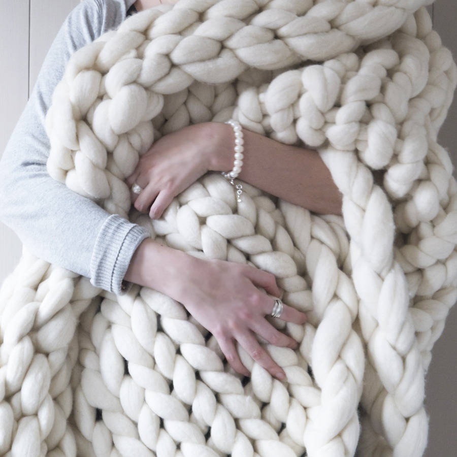 Knitting A Chunky Blanket : Woolacombe super chunky hand knitted throw by lauren aston