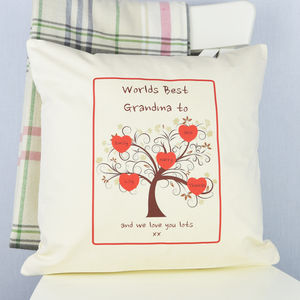 Personalised 'Grandma' Family Tree Cushion - gifts for grandparents