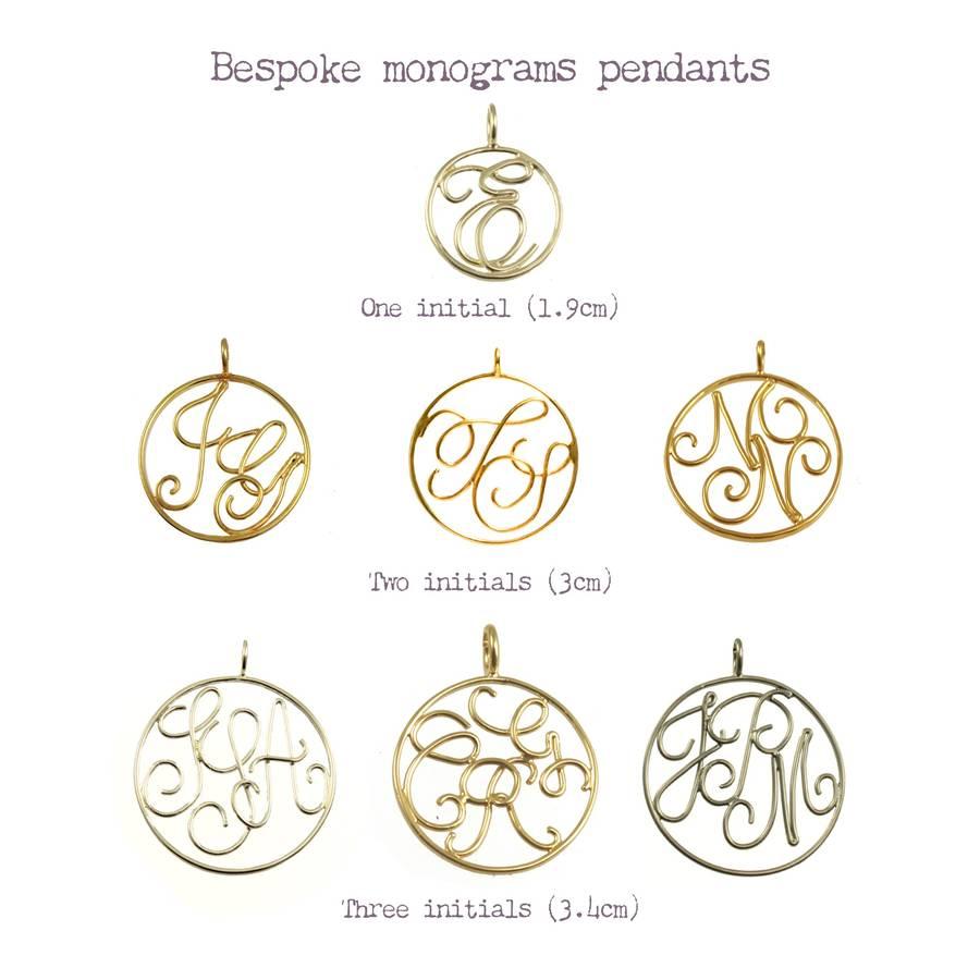 9ct solid gold monogram pendant by sibylle de baynast jewels bespoke wire monogram pendant chart aloadofball Choice Image