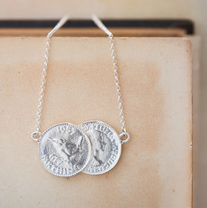 Silver Double Farthing Charm Necklace - wedding jewellery