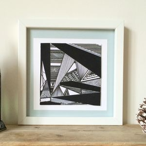 Monochrome Abstract Geometric Print Two - modern & abstract