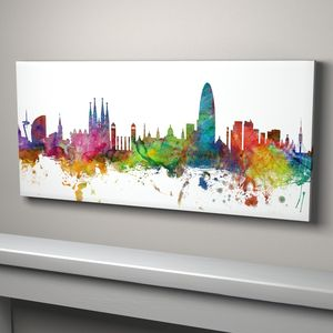Barcelona Skyline Cityscape Art Print - architecture & buildings