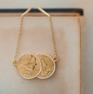 Gold Double Farthing Charm Necklace