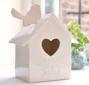 Personalised Starling Ceramic Birdhouse - ornaments