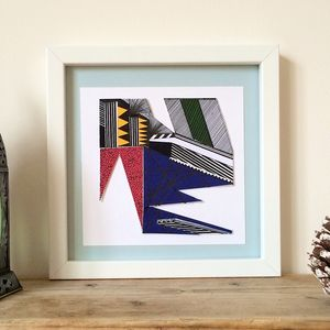 Colourful Collaged Abstract Geometric Print One - art & pictures