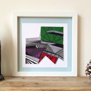 Colourful Collaged Abstract Geometric Print Two