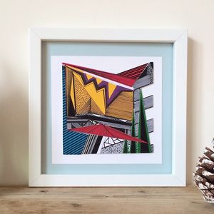 Colourful Collaged Abstract Geometric Print Four