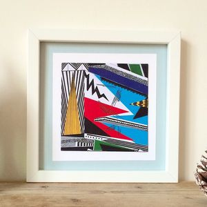 Colourful Collaged Abstract Geometric Print Six