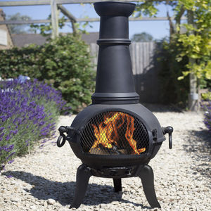 Chiminea Patio Heater And Swing Grill - fire pits & outdoor heating
