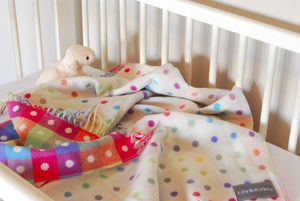 Fine Lambswool Spot/Check Multi Baby Blanket - baby's room