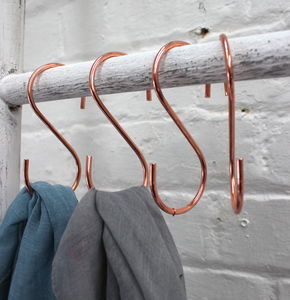 Set Of Four Copper Plated Hooks - storage