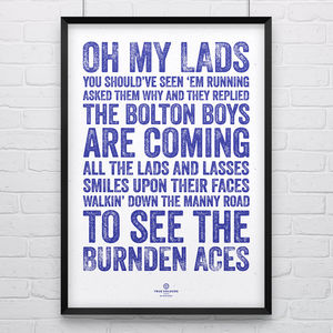 Bolton Wanderers 'Burnden Aces' Football Song Print - posters & prints