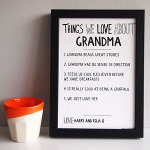 Personalised Things We Love About Grandparent Print - gifts for grandparents