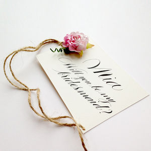 Will You Be My Bridesmaid Card With Paper Rose