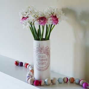 'Mum Knows Best' Vase - gifts for the home