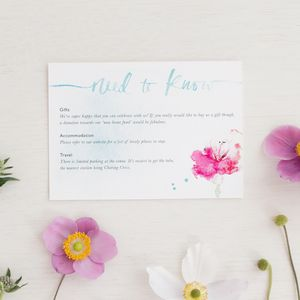 Watercolour Calligraphy Guest Information - watercolour styling for weddings