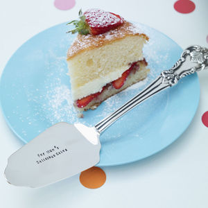 Personalised Silver Plated Cake Slice - 70th birthday gifts
