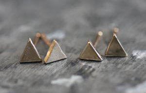 Handmade Solid Gold Mini Geometric Earrings