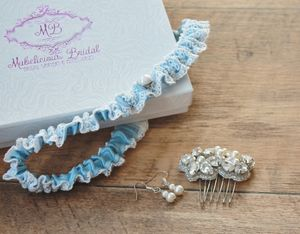 'Ella' Something Blue Vintage Inspired Bridal Garter - bridal lingerie