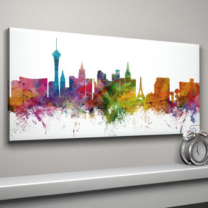 Las Vegas Skyline Cityscape Art Print - architecture & buildings