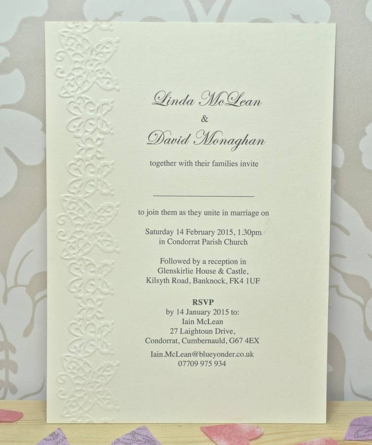 butterfly embossed wedding invitations by sweet pea design ...