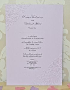 Vintage Rose Embossed Wedding Stationary - wedding stationery
