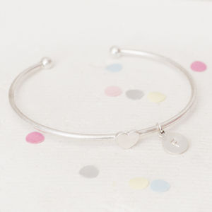 Tally Personalised Heart Charm Bangle
