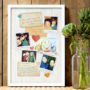 Personalised Mum's Memory Board Print - gifts from older children