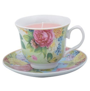 Teacup Candle Chintz Floral Design - candles & candlesticks
