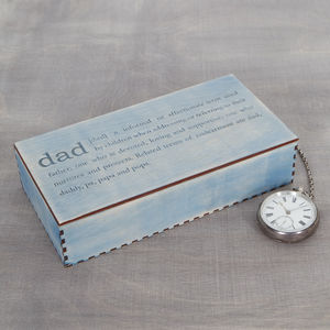 Dad Definition Engraved Cufflink Box - cufflink boxes & coin trays