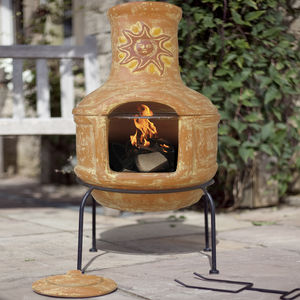 Pizza Clay Chiminea Patio Heater With BBQ - garden refresh
