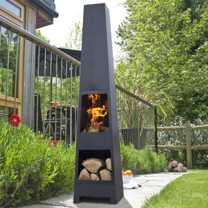Malmo Chiminea Patio Heater And Log Store - fire pits & outdoor heating