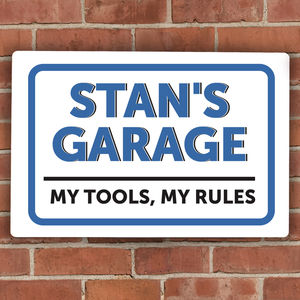 Personalised 'Man Garage' Metal Sign - art & decorations