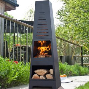 Skyline Chiminea Patio Heater And Log Store - fire pits & outdoor heating