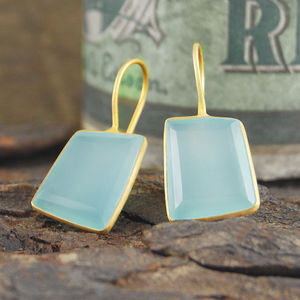 Aqua Chalcedony Gold Geometric Drop Hook Earrings
