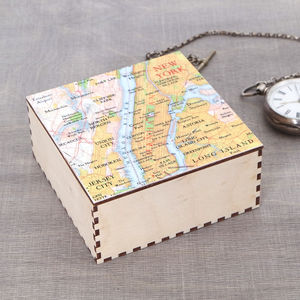 Map Location Print Jewellery Cufflink Box