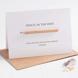 Pencil Us In Save The Date Card - wedding stationery
