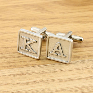 Pewter Monogrammed Tile Cufflinks - gifts for grandparents