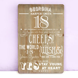 Personalised 18th Birthday Wooden Print - best for birthdays