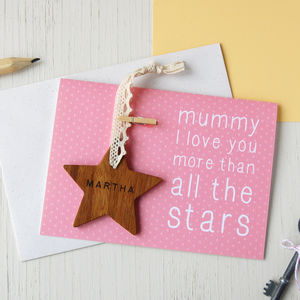 'Mummy I Love You More' Star Keepsake Card - mother's day cards
